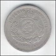 1878 - Brasil-Império, Dom Pedro II, 100 Réis, cuproníquel, bc/mbc.