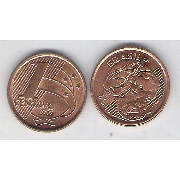 2002 - 1 Centavo, s/fc, aço revestido de cobre.