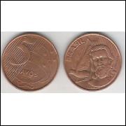 2000 - 5 Centavos, mbc, aço revestido de cobre.