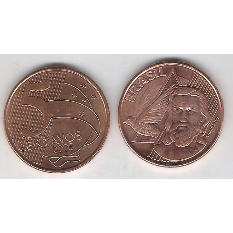 2005 - 5 Centavos, fc, aço revestido de cobre.