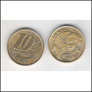 1999 - 10 Centavos, mbc, aço revestido de cobre.
