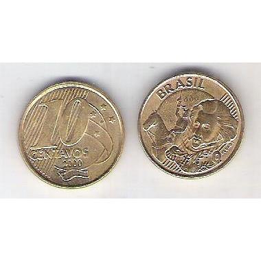 2000 - 10 Centavos, mbc, aço revestido de cobre.