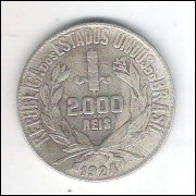 1924 - 2000 Réis, prata, mbc.
