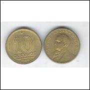 1944 -  10 Centavos, bronze-alumínio, com sigla, FC. Getúlio Vargas