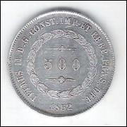 1852 - 500 Réis, prata, mbc, Brasil-Império, Dom Pedro II.
