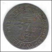 1821 M - 37 1/2 Réis, cobre, Brasil-Reino Unido, D. João VI, bc