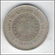1897 - Brasil, 100 Réis, cuproníquel, mbc.