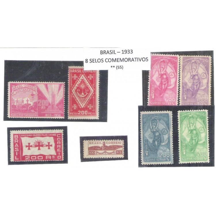 1933 - Coleção dos 8 selos comemorativos, novos, sem goma.