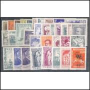1953 - Coleção dos 34 selos comemorativos, novos.