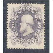 I-24b Brasil Império, 1866, 20 Réis, violeta ardósia, Dom Pedro II, picotado, novo.