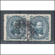 I-25 Brasil Império, 1866, 50 Réis, PAR, Dom Pedro II, picotado, carimbado.