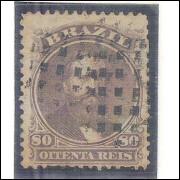 I-26C Brasil Império, 1868, 80 Réis, PAPEL AZULADO, Dom Pedro II, picotado, carimbado.