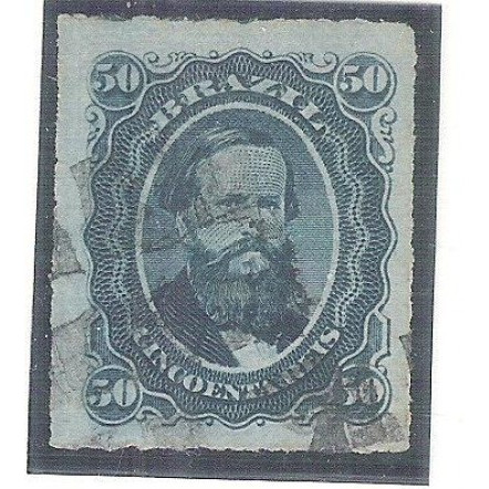 I-32B Brasil Império, 1876, 50 Réis, Dom Pedro II, percê, PAPEL TINTADO, carimbado.