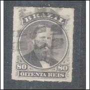 I-33 Brasil Império, 1876, 80 Réis, Dom Pedro II, percê, carimbado.