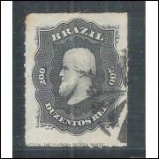 I-35L Brasil Império, 1876, 200 Réis, Dom Pedro II, percê, COM LEGENDA, carimbado.