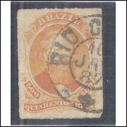 I-36 Brasil Império, 1876, 500 Réis, Dom Pedro II, percê, carimbado.