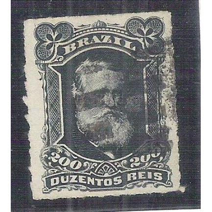 I-42 Brasil Império, 1877, 200 Réis, Dom Pedro II, Barba Branca, percê, carimbado