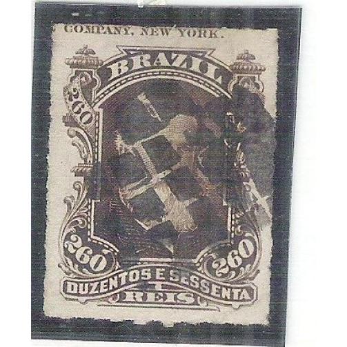 I-43L Brasil Império, 1877, 260 Réis, Dom Pedro II, Barba Branca, COM LEGENDA em inglês.