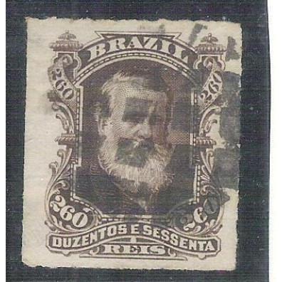 I-43 Brasil Império, 1877, 260 Réis, Dom Pedro II, Barba Branca, carimbado.