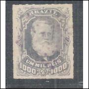I-45 Brasil Império, 1878, 1000 Réis, Dom Pedro II, Barba Branca, carimbado.