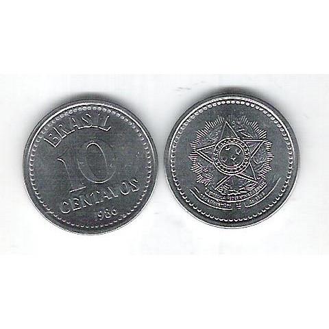 1986 - 10 Centavos, aço, fc.