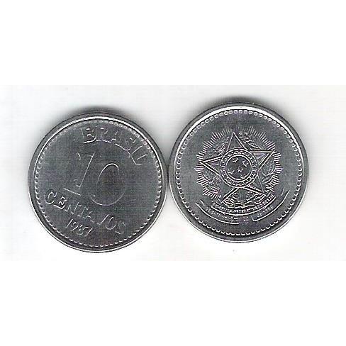 1987 - 10 Centavos, aço, fc.