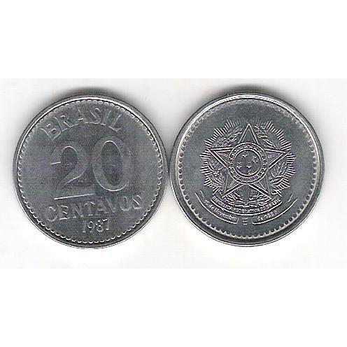 1987 - 20 Centavos, aço, fc.