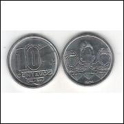 1989 - 10 Centavos, aço, fc. Garimpeiro.