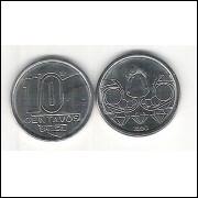 1990 - 10 Centavos, aço, fc. Garimpeiro.