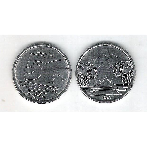 1991 -  5 Cruzeiros, aço, fc. Salineiro.