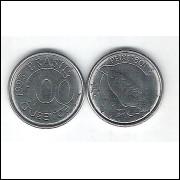 1993 - 100 Cruzeiros, aço, fc. Fauna, peixe boi.