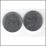 1993 - 500 Cruzeiros, aço, fc. Fauna, tartaruga.