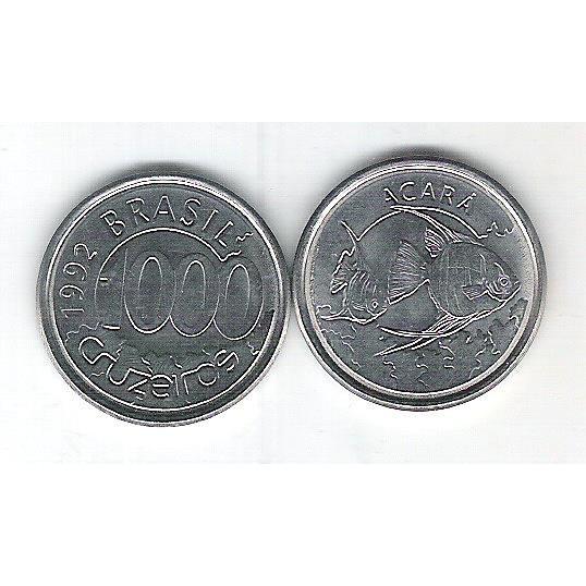 1992 - 1000 Cruzeiros, aço, fc. Fauna, acará.