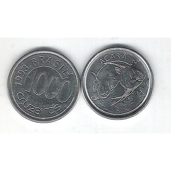 1993 - 1000 Cruzeiros, aço, fc. Fauna, acará.