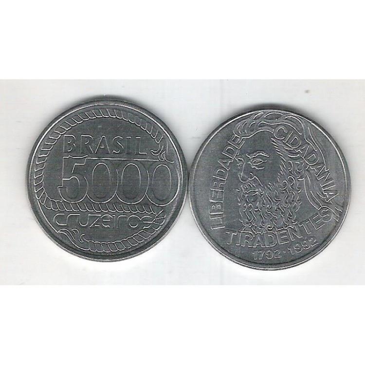 1992 - 5000 Cruzeiros, aço, fc. Comemorativa, Bicentenário de Tiradentes.