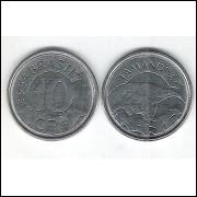 1994 - 10 Cruzeiros Reais, aço, fc. Fauna, arara.