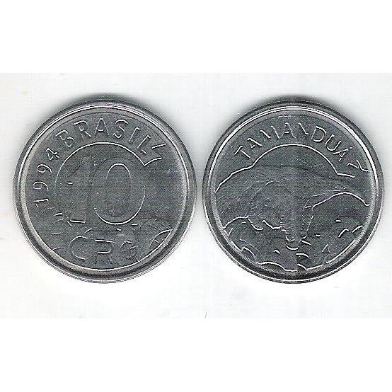 1994 - 10 Cruzeiros Reais, aço, fc. Fauna, tamanduá.