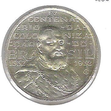 1932 - 2000 Réis, prata, FC.Comemorativa ao IVo Centenário da Colonização.