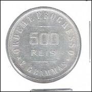 1908 - 500 Réis, prata, mbc+, -REIS- SEM ACENTO, Brasil-República.