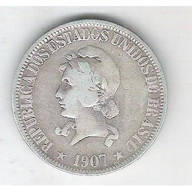 1907 - 1000 Réis, prata, mbc, Brasil-República.
