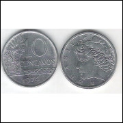 1974 - 10 Centavos, fc. Cupro-níquel.