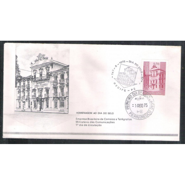 FDC-072 - 1975 - Dia do Selo. Carimbo Comemorativo + 1o Dia - Recife-PE
