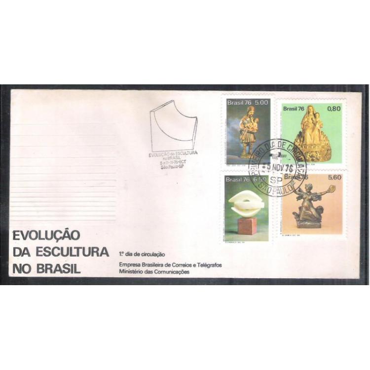 FDC-108 - 1976 - Evolução da Escultura no Brasil. Carimbo 1o Dia + Comemorativo.