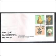 FDC-108 - 1976 - Evolução da Escultura no Brasil. Carimbo 1o Dia.