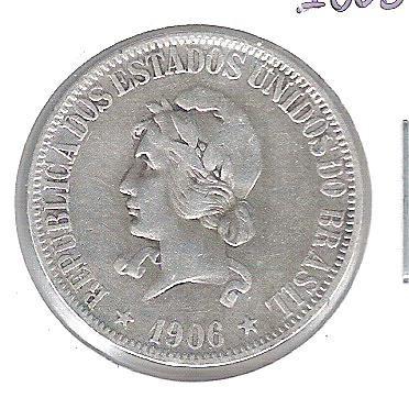 1906 - 1000 Réis, prata, mbc, Brasil-República.