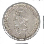 1909 - 1000 Réis, prata, mbc, Brasil-República.
