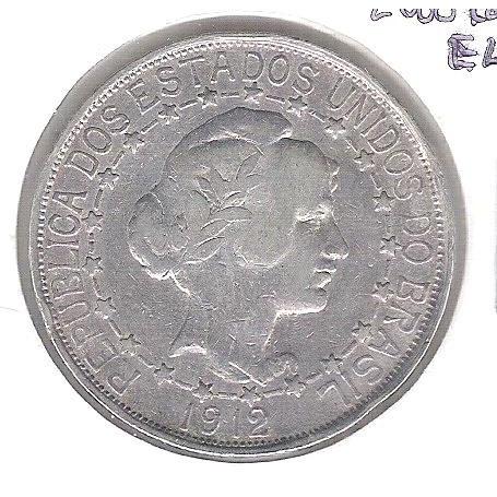 1912 - 2000 Réis, estrelas ligadas, prata, mbc.