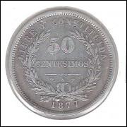 Uruguai, 50 Centesimos, 1877 A, mbc, prata.