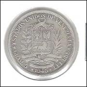 Venezuela, Bolivar, 1945, mbc, prata.