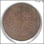 1911 - Brasil, 40 Réis, bronze, mbc